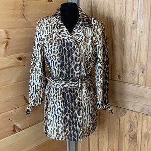 Anne Klein trench style jacket with animal print 8
